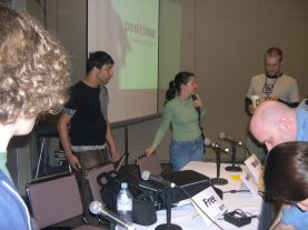 Chris and Jane get set up before our panel