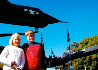 Kids in front of the Aerospace Museum