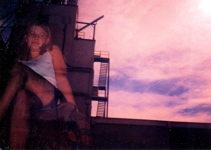 Kristi and building, unintentional double-exposure, 1997