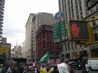 Labor protest, lower Manhattan-1