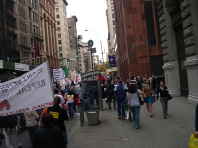 Labor protest, lower Manhattan
