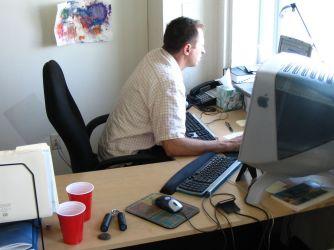 Lance hard at work