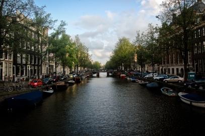 Typical picturesque Amsterdam canal way